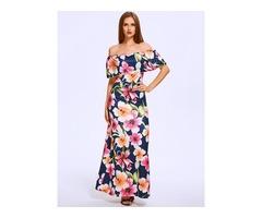 Summer Slash Neck Off Shoulder Lotus Leaf Floral Maxi Chiff Dress