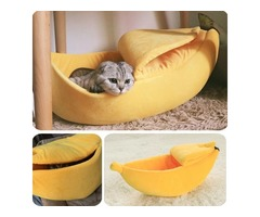 Cozy Cute Banana Cat Bed-Animals