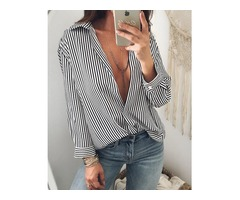 Low Cut Striped Long Sleeve Casual Blouse