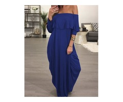 Ruffled Off Shoulder Baggy Maxi Dress