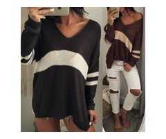 Contrast Color V Neck Split Loose Sweater