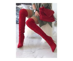 Red Pointed Toe Knee-High Heeled Boots