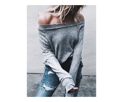 Fashion Off Shoulder Long Sleeve Casual Top