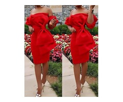 Off Shoulder Bowknot Design Bodycon Dress