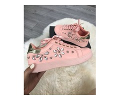 Shiny Embellished Low Top Sneakers