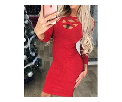 Sexy Caged Long Sleeve Bodycon Dress