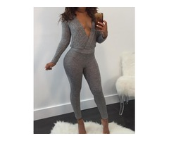 Deep V Open Back Slinky Jumpsuit