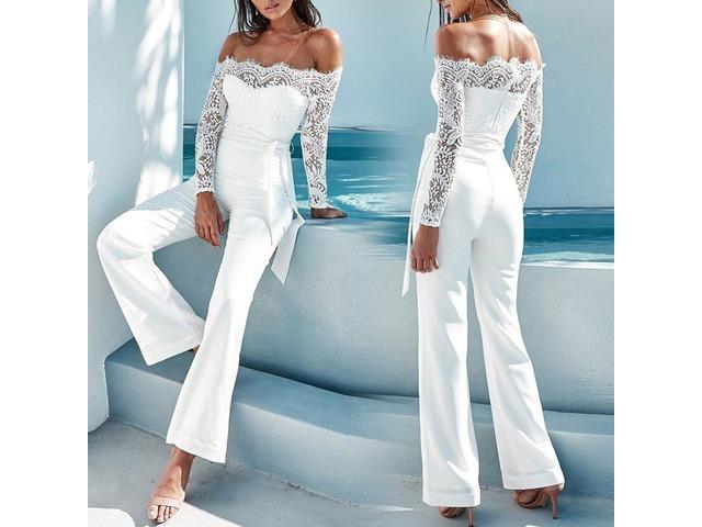 White Elegant Lace Sleeve Eyelash Wide Leg Jumpsuit Pantsuit Romper   free-classifieds.co.uk