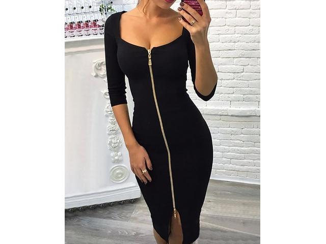 Sexy Zipper Up Split Bodycon Dress | free-classifieds.co.uk