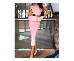 Stylish Off Shoulder Bodycon Peplum Dress