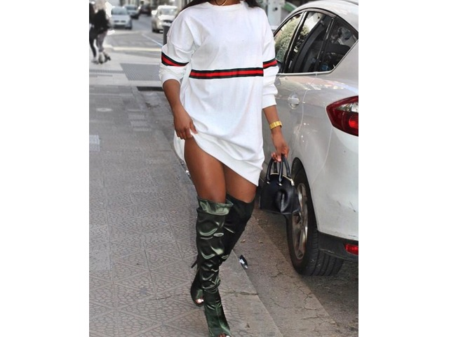Stripes Long Sleeve Sweatshirt Dress | free-classifieds.co.uk