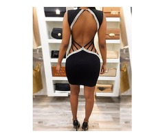Deep V Ladder Open Back Bodycon Dress