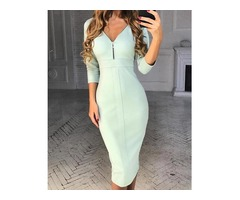 Zipper Design V Neck Bodycon Dress | free-classifieds.co.uk