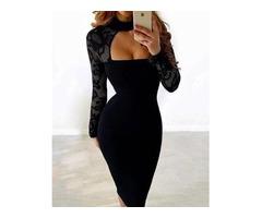 Sexy Black Lace Sleeve Choker Neck Midi Dress