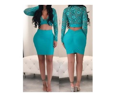 Deep V Lace Cropped Top & High Waist Skirt Sets