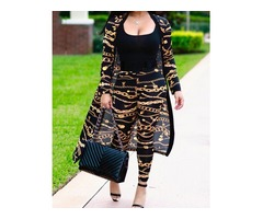2PCs Chain Print Belted Cover Ups With Pants
