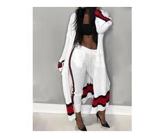 Fashion Contrast Color Drawstring Cardigan Sets