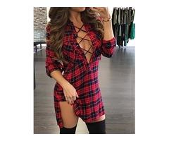 Plaid Lace-Up Side Slit Shirt Dress