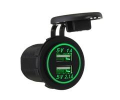 Car Dual USB Power Charger Adapter Socket Waterproof 5V 2.1A 1A