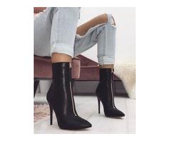 Front Zipper Stiletto Boots