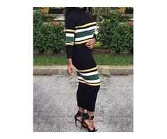 Contrast Stripe Print Long Sleeve Maxi Dress