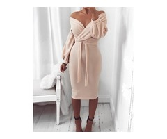 Off Shoulder Twisted Waist Tie Sexy Midi Dress