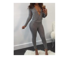 Stylish Deep V Neck Tied Open Back Slinky Jumpsuit