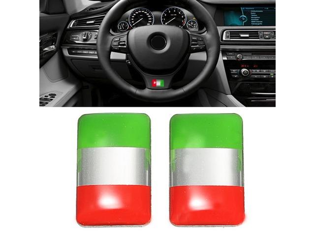 Pair Aluminium Italy Flag Badge Emblem Car Sticker Self-adhesive Labeling Decal Decoration | free-classifieds.co.uk