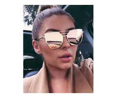 Stylish Irregular Lens Metal Frame Sunglasses