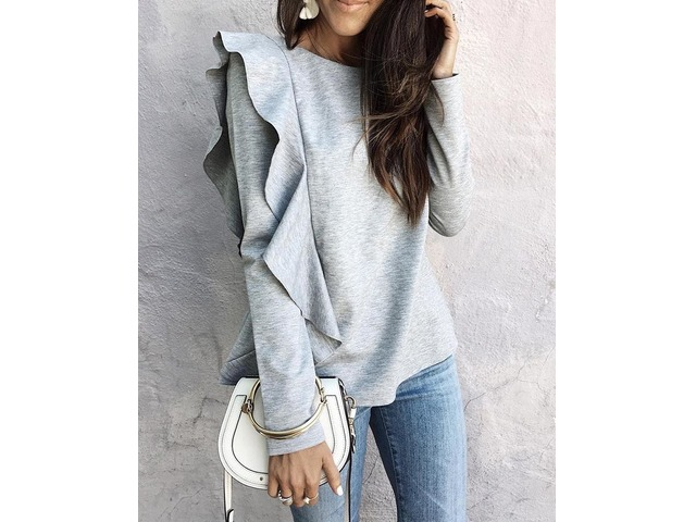 Stylish Ruffled Long Sleeve Casual Blouse | free-classifieds.co.uk