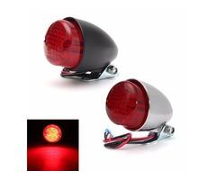 Universal 12V Motorcycle LED Rear Lamp Tail Brake Stop Running Light Black Chrome