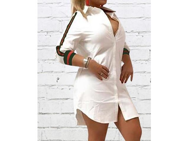 Stripes Tape Button Up Shirt Dress | free-classifieds.co.uk