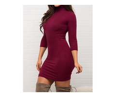 Fashion Solid High Neck Bodycon Dress | free-classifieds.co.uk