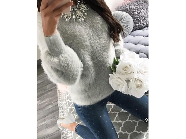 Fluffy Long Sleeve Casual Sweater | free-classifieds.co.uk