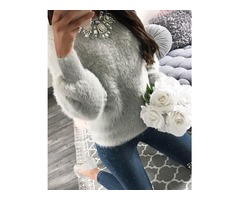 Fluffy Long Sleeve Casual Sweater