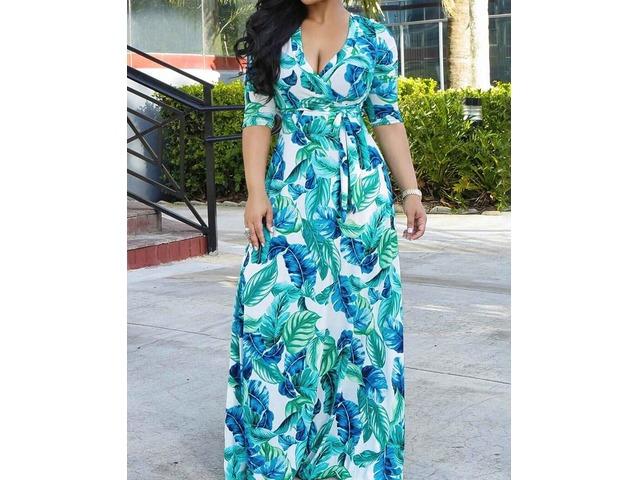 Floral Print Tied Wrap Boho Maxi Dress | Free-Classifieds.co.uk