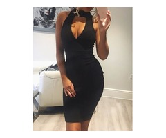 Sexy Choker V Sleeveless Bodycon Dress