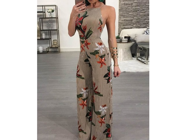 Floral Printed Halter Open Back Casual Wide Leg Jumpsuit | free-classifieds.co.uk