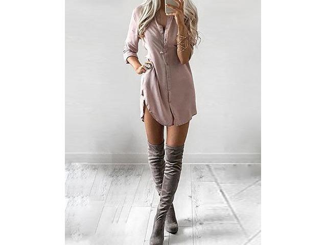 Solid Curve Hem Casual Shirt Dress | Free-Classifieds.co.uk