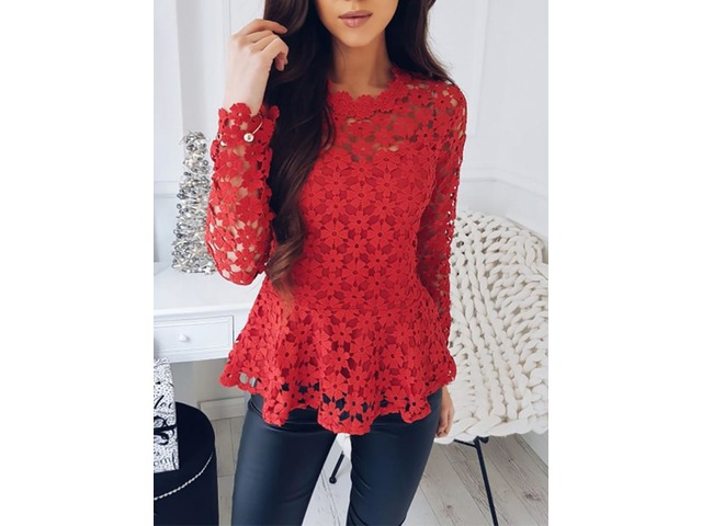 Hollow Out Lace Crochet Casual Blouse | free-classifieds.co.uk