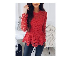Hollow Out Lace Crochet Casual Blouse