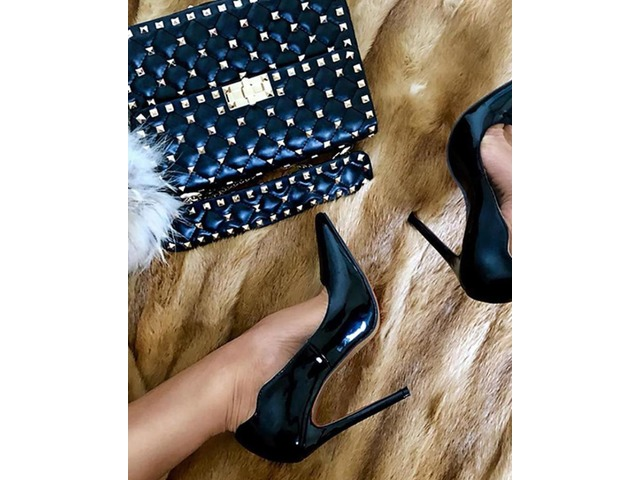 Sexy Solid  Stiletto Pumps. Pattern Type:Plain Material:Patent Leather Heel Height: 12 cm Package Include: 1*Woman Heels (Height:12cm) | free-classifieds-canada.com