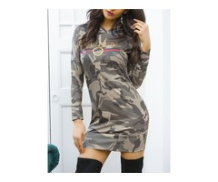 Stylish Camouflage Print Casual Hoodie Dress