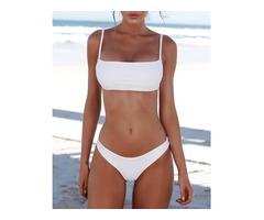 Solid Stretchy Bikini Set Sexy Swimwear
