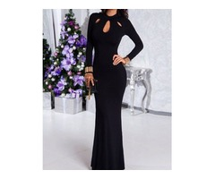 Cut Out Front Mermaid Maxi Evening Dress