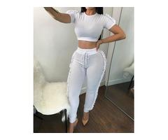 Short Sleeve Frilled Tracksuit Pant Sets