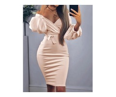 Off Shoulder Twisted Waist Tie Sexy Midi Dress