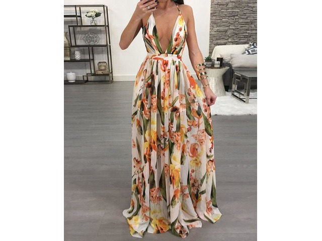 Floral Deep V Neck Backless Maxi Dress. Pattern Type:Print Material:Polyester Neckline:Deep V Neck Sleeve Style:Sleeveless Package Include: 1*Woman Dress | free-classifieds-canada.com