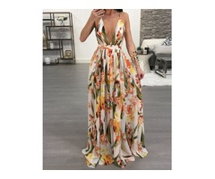Floral Deep V Neck Backless Maxi Dress | free-classifieds-canada.com