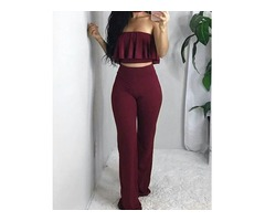 Ruffled Strapless Cropped Top With Pants Set | free-classifieds.co.uk